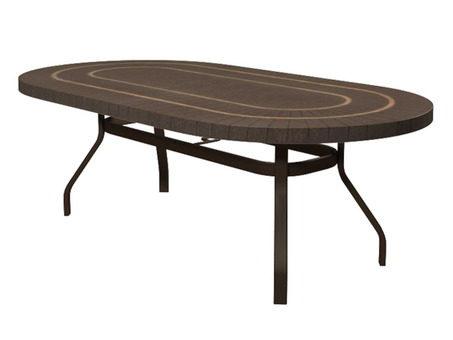... Faux Wood Aluminum Outdoor Furniture By Homecrest Sorrento Faux 44 X 84  Oval Balcony Table With ...