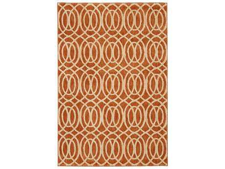 American Craftsmen Davenport Modern Orange Hand Made Synthetic Geometric 3'6 x 5'6'' Area Rug - 90561-20043-042066