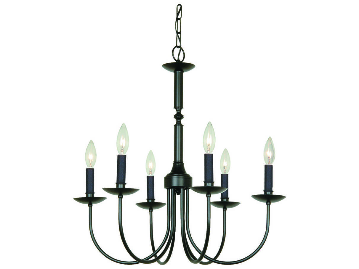 Artcraft Lighting Wrought Iron Black Six Light 22 Wide