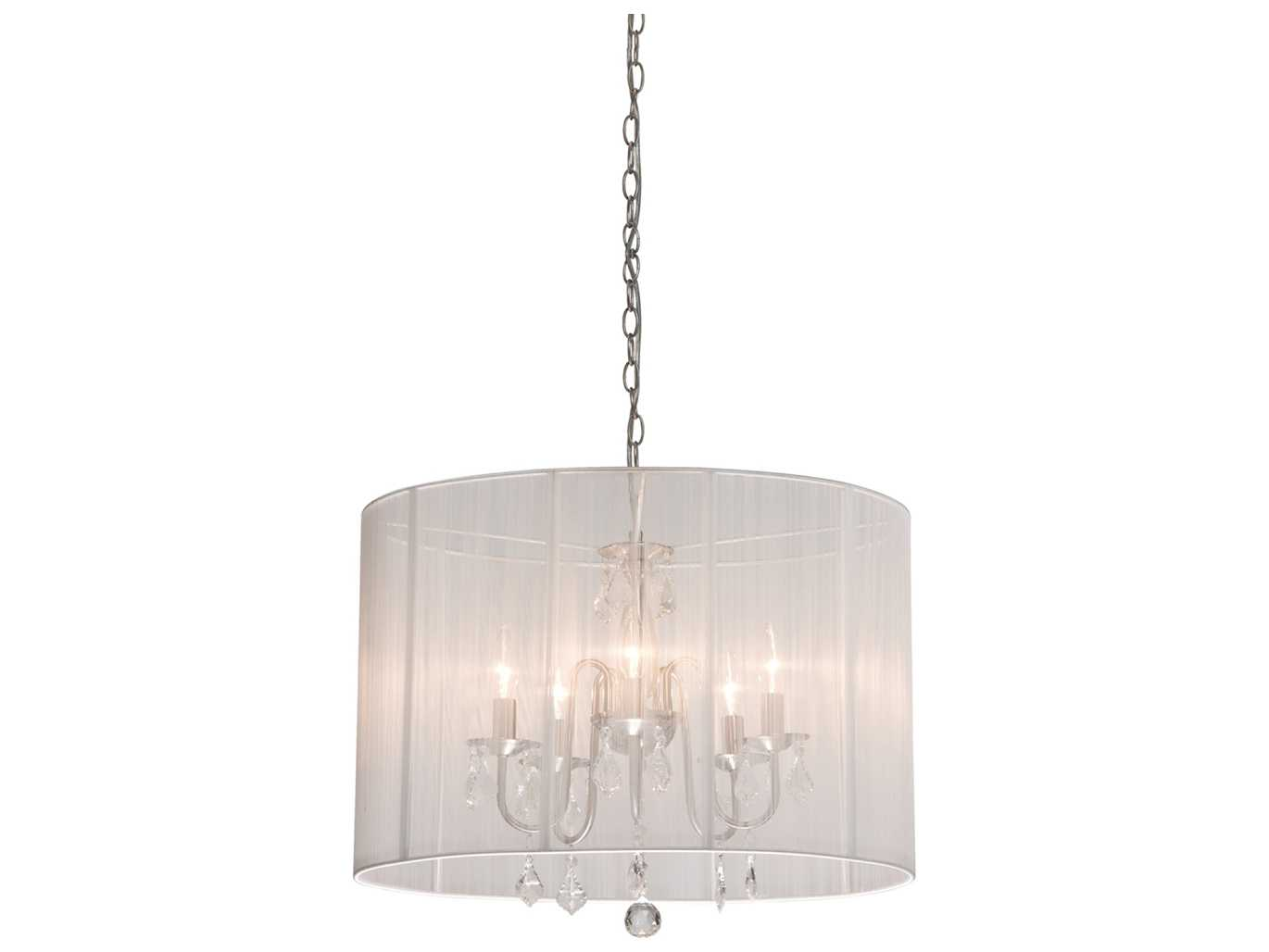 Mini Chandelier String Lights : Artcraft Lighting Claremont White & Silk String Five-Light 17 Wide Mini Chandelier AC381WH