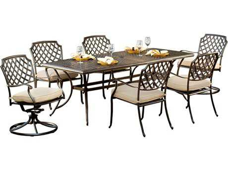Agio heritage cast aluminum five piece dining set for Agio heritage chaise lounge