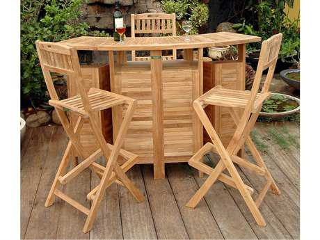 Anderson Teak Altavista Teak 4 Person Teak Bar Patio Dining Set