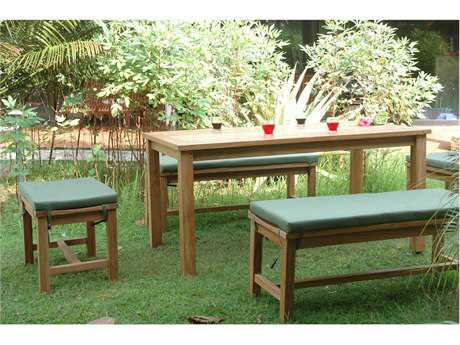 Anderson Teak Montage Teak 4 Person Cushion Casual Patio Dining Set