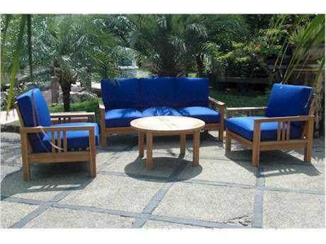 Anderson Teak South Bay Teak 5 Person Cushion Conversation Patio Lounge Set