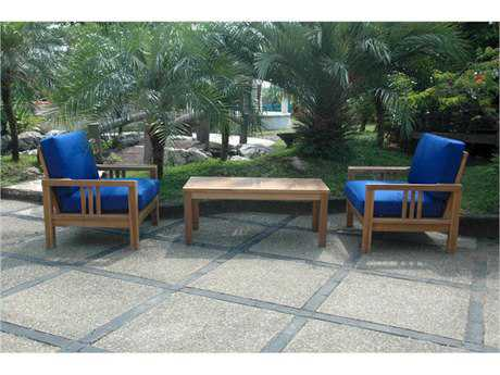 Anderson Teak South Bay Teak 2 Person Cushion Conversation Patio Lounge Set