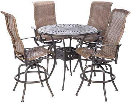 Alfresco Home Naples Cast Aluminum 4 Person Wicker Bar Patio Dining Set