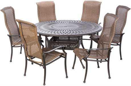 Alfresco Home Naples Cast Aluminum 6 Person Wicker Casual Patio Dining Set