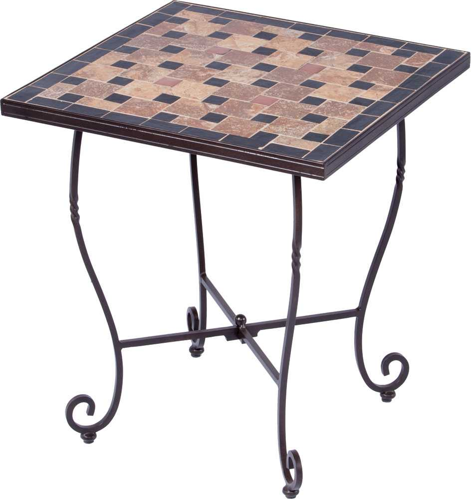 Alfresco home recco wrought iron 20 square mosaic side for Wrought iron side table