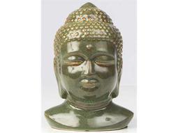 Alfresco Home Glazed Ceramic Buddha Head - Green