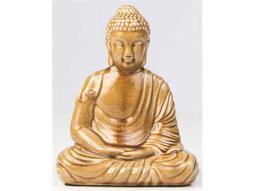Alfresco Home Glazed Ceramic Peaceful Buddha - Honey