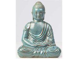 Alfresco Home Glazed Ceramic Large Peaceful Buddha - Sea Blue