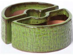 Alfresco Home Garden Ceramic Cobblestone Umbrella Planter - Island Green