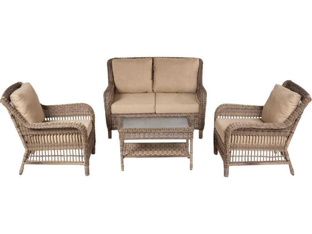 Alfresco home cotswold wicker cushion conversation set seats 4 43 1103 - Conversation set replacement cushions ...