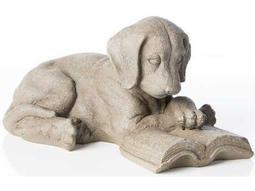 Alfresco Home Garden Cast Resin Reading Puppy