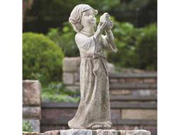 Alfresco Home Garden Child Holding Bird Statue