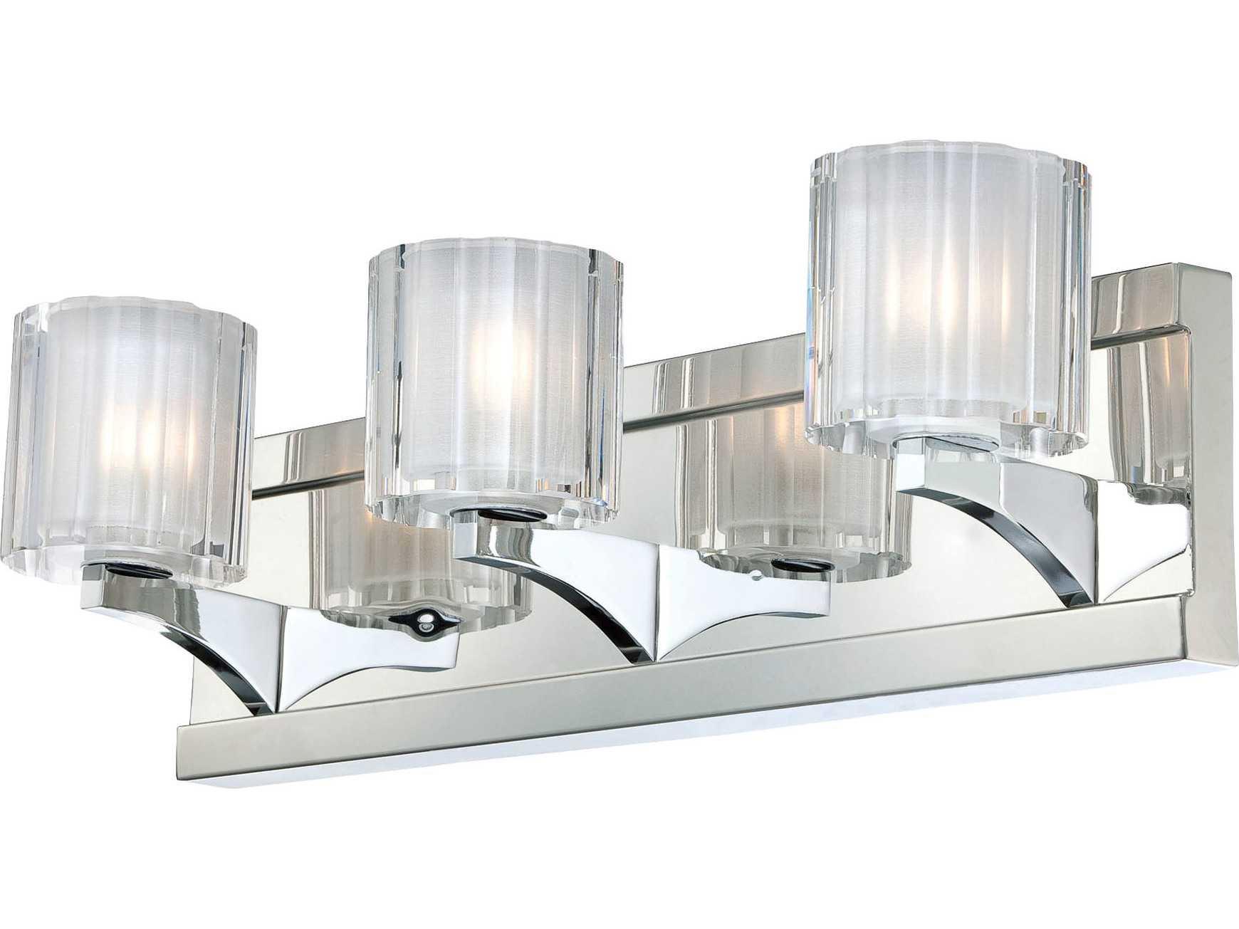 Chrome Crystal Vanity Lights : Alico Tiara Chrome & Crystal Glass Three-Light Vanity Light BV3003-0-15