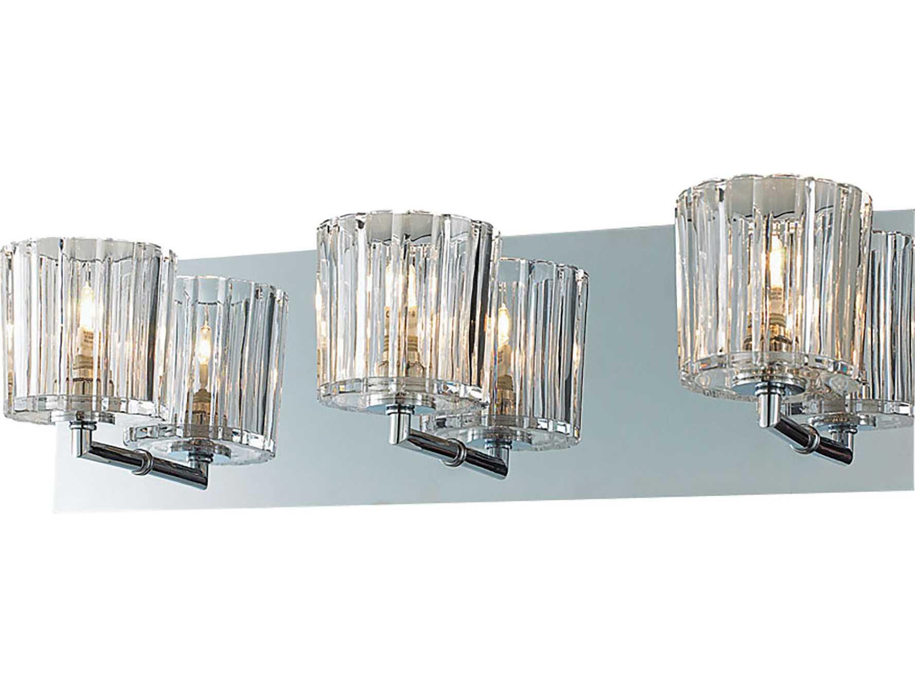 Alico Sprocket Chrome & Crystal Glass Three-Light Vanity Light BV4003-0-15