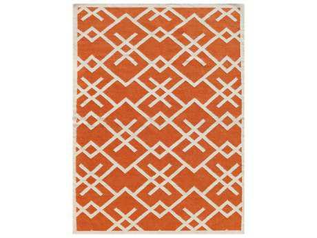 Amer Zara Modern Orange Flatweave Wool Geometric 3' x 5' Area Rug - ZAR570305