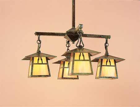 Arroyo Craftsman Carmel Four-Light 26'' Wide Chandelier Bungalow Overlay / Antique Brass / Almond Mica - CCH-8_4BAM-AB