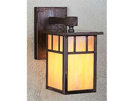 Arroyo Craftsman Huntington Outdoor Wall Sconce Classic Arch Overlay / Antique Brass / Almond Mica - HB-4LWAAM-AB