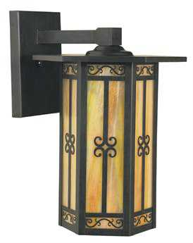 Arroyo Craftsman Lily Bronze Outdoor Wall Sconce Antique Brass / Almond Mica - LIB-9AM-AB