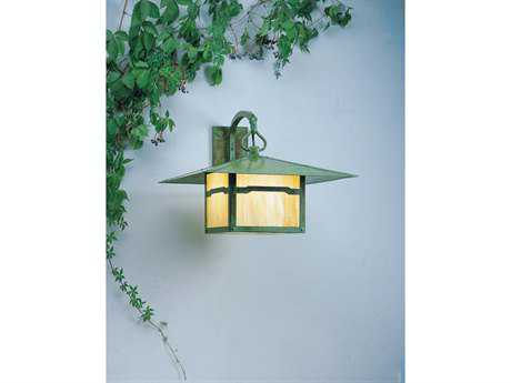Arroyo Craftsman Monterey Outdoor Wall Sconce Cloud Lift Overlay / Antique Brass / Almond Mica - MB-20CLAM-AB