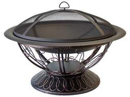AZ Patio Heaters 30'' Wood Burning Firepit With Scroll Design