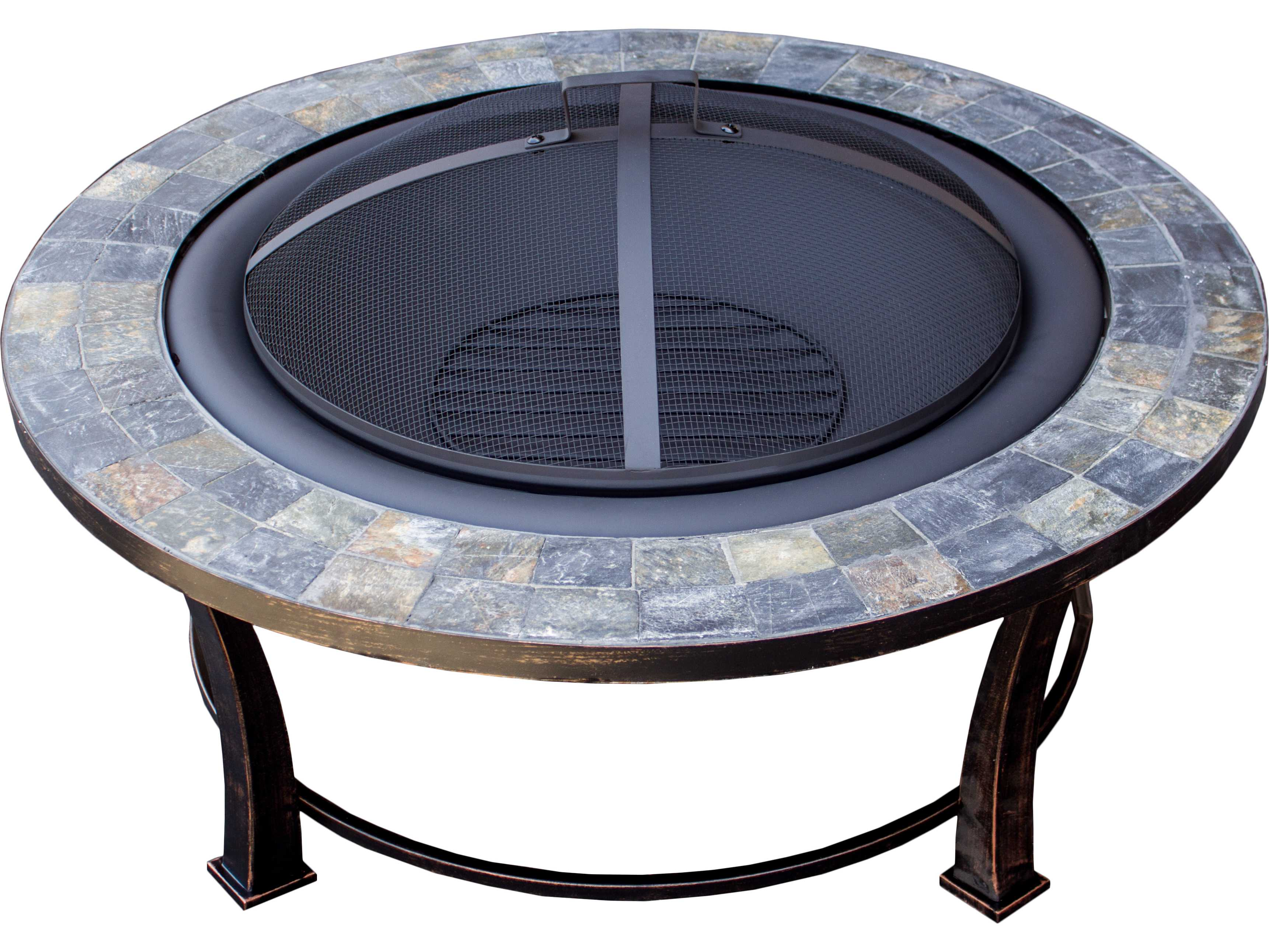 AZ Patio Heaters 40'' Round Slate Top Wood Burning Firepit ...