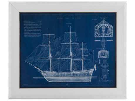 Bassett Mirror Pan Pacific Antique Ship Blueprint IV Painting