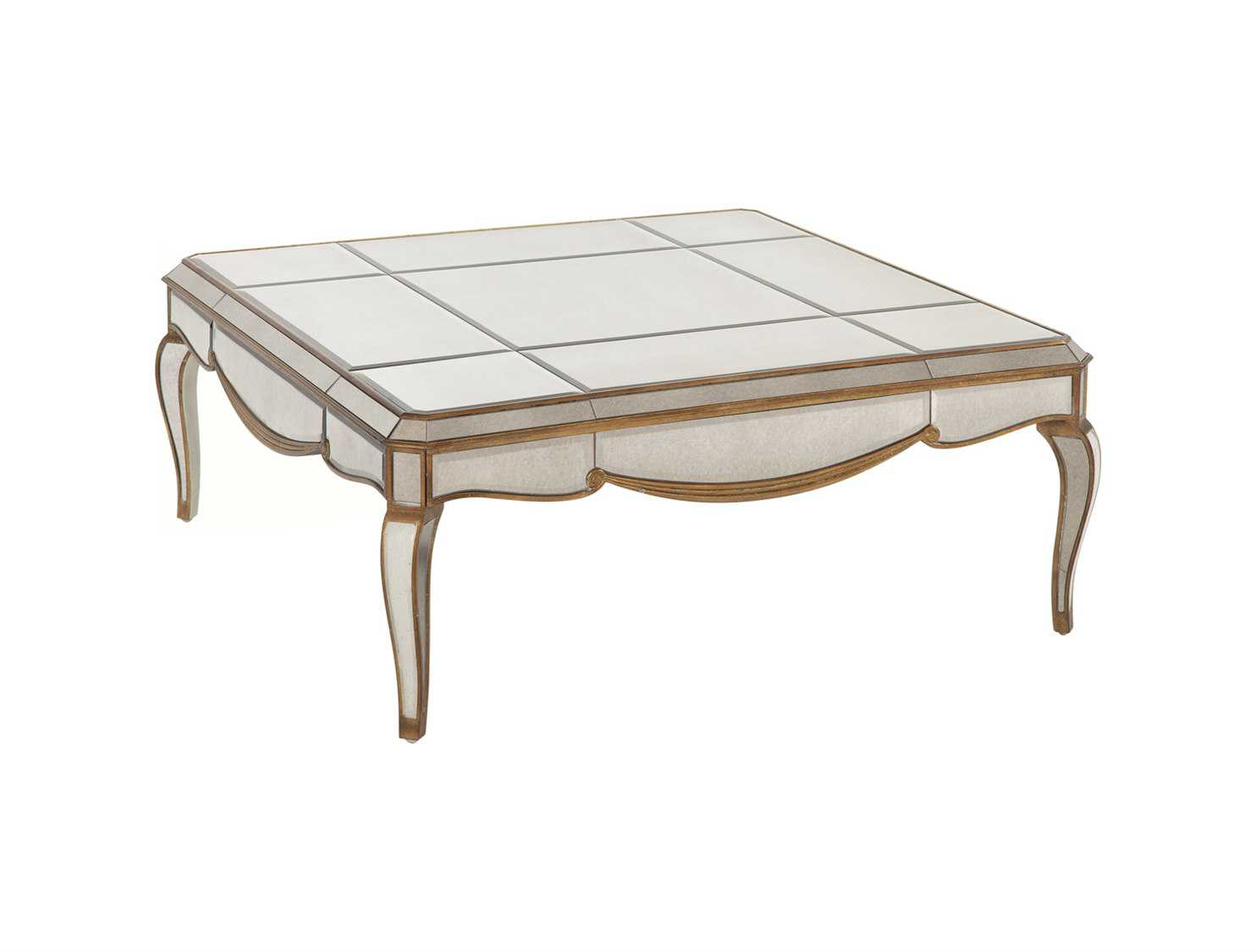 Bassett Mirror Hollywood Glam Square Beige Collette Cocktail Table T1267 130ec