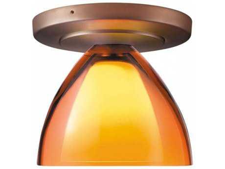 Bruck Lighting Rainbow Orange Outer & Frosted White Inner Glass 4.5'' Wide Semi Flush Mount Light Bronze - 100725bz/CM