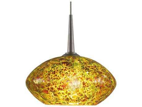 Bruck Lighting Pandora Emerald Glass 6'' Wide Halogen Mini Pendant Light Bronze / 4'' Kiss Canopy - 221857bz/mp