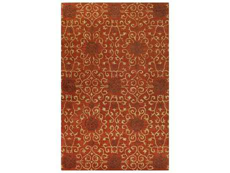 Bashian Venezia Transitional Orange Hand Made Wool Floral/Botanical 2'6'' x 8' Area Rug - R120-RU-2.6X8-CL122