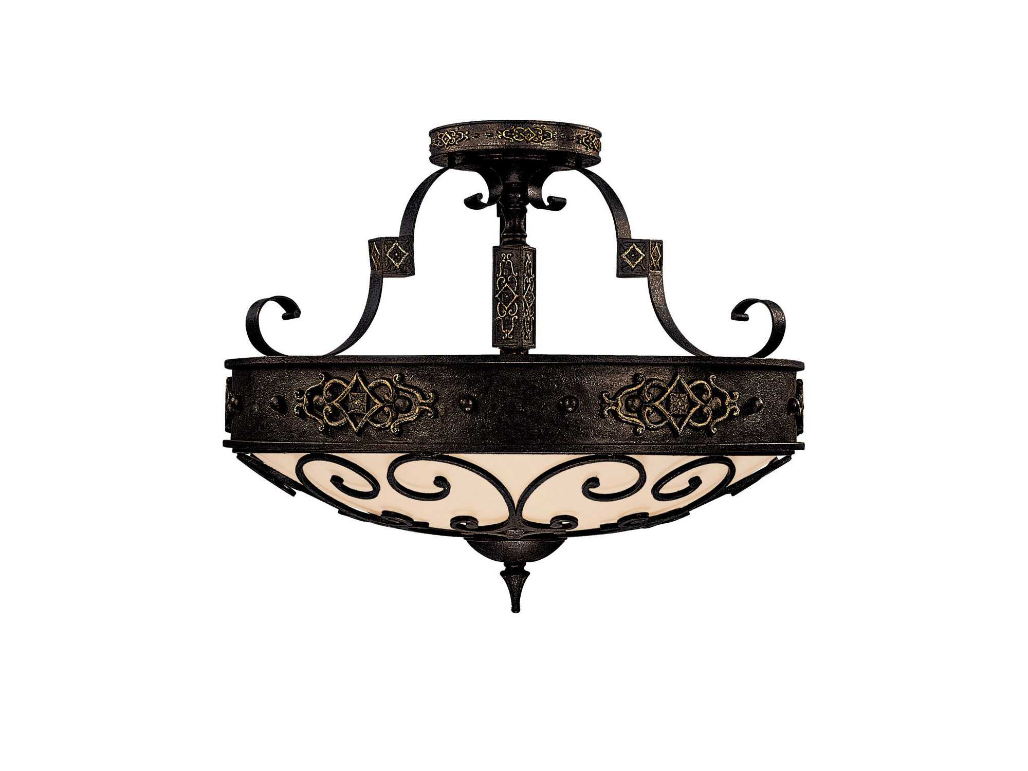 lighting river crest rustic iron four light semi flush mount light. Black Bedroom Furniture Sets. Home Design Ideas