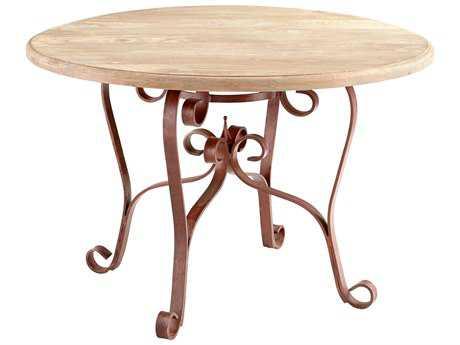 Cyan Design Victorian Dark Rust & Light French Grey 48'' Wide Round Dining Table