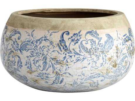 Cyan Design Isela Blue & White Large Planter