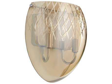 Cyan Design Chrome with Cognac Etched Glass Two-Light Wall Sconce