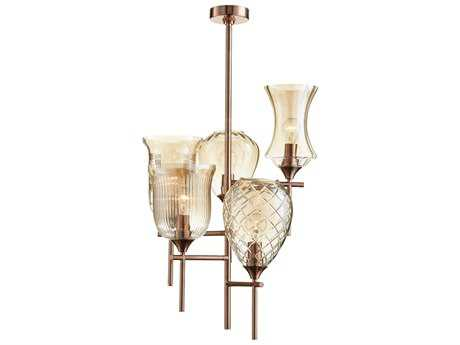 Cyan Design Darcey Satin Copper with Cognac Glass Five-Light 19'' Wide Pendant Light