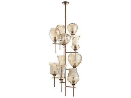 Cyan Design Darcey Satin Copper with Cognac Glass Ten-Light 21'' Wide Grand Chandelier