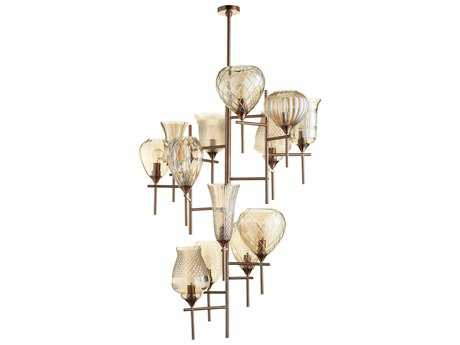 Cyan Design Darcey Satin Copper with Cognac Glass 13-Light 40.5'' Wide Grand Chandelier