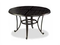 Cast Classics Opus Cast Aluminum 84 x 44 Oval Metal Dining Table with Umbrella Hole