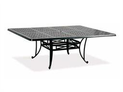 Cast Classics Opus Cast Aluminum 84 x 60 Rectangular Metal Dining Table with Umbrella Hole