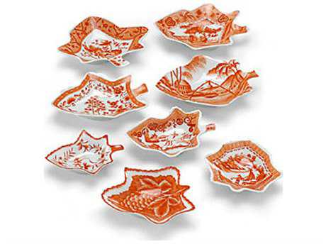 Chelsea House Hand Decorated Porcelain Pumpkin Small Set of Eight Trays