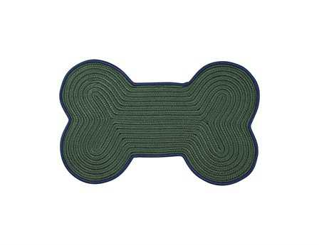 Colonial Mills Dog Bone Color Edge Novelty Green Braided Synthetic Solid Dog Bone 1'10