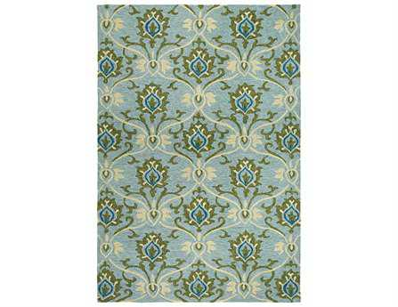 Couristan Fresco Transitional Teal Hand Made Synthetic Damask 2' x 4' Area Rug - 23053000020040T