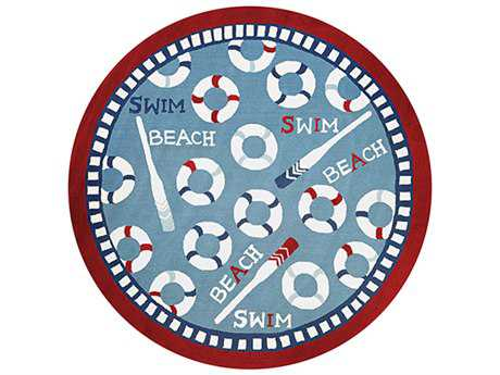 Couristan Beachfront Novelty Blue Hand Made Synthetic Graphic Area Rug- 2383-2183-ROU