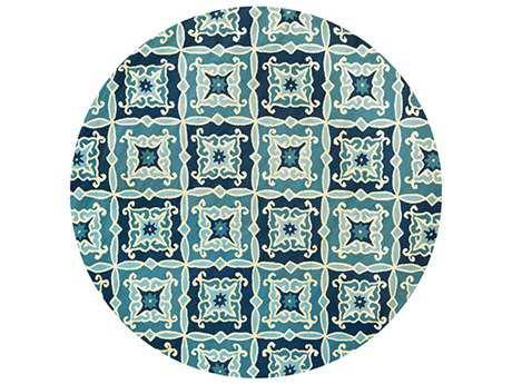 Couristan Beachfront Transitional Blue Hand Made Synthetic Floral/Botanical Area Rug- 2724-2000-ROU