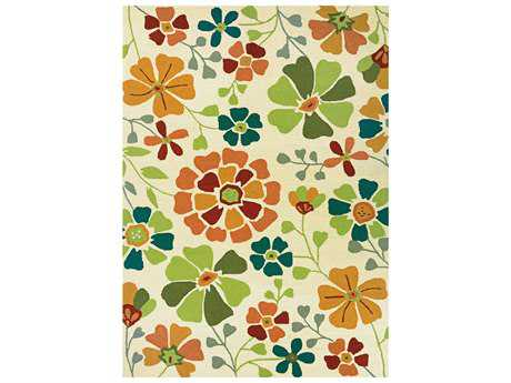 Couristan Beachfront Transitional Beige Hand Made Synthetic Floral/Botanical 2' x 4' Area Rug - 27633000020040T
