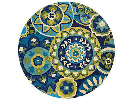 Couristan Covington Transitional Teal Hand Made Synthetic Floral/Botanical Area Rug- 3778-1014-ROU