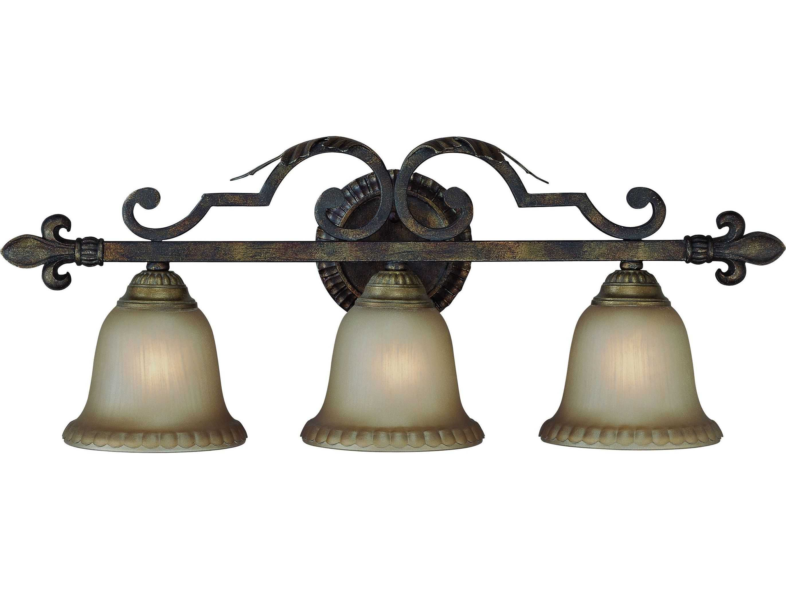 Craftmade Jeremiah Devereaux Three-Light Vanity Light in Burleson Bronze with Distressed Mocha ...